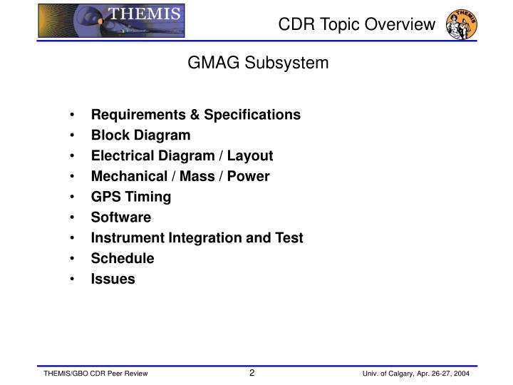 Cdr topic overview