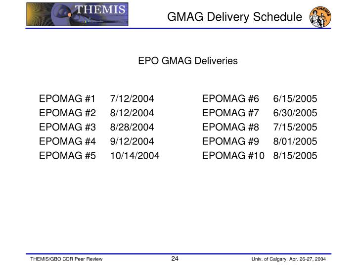 GMAG Delivery Schedule