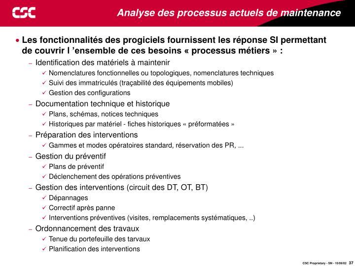 Analyse des processus actuels de maintenance
