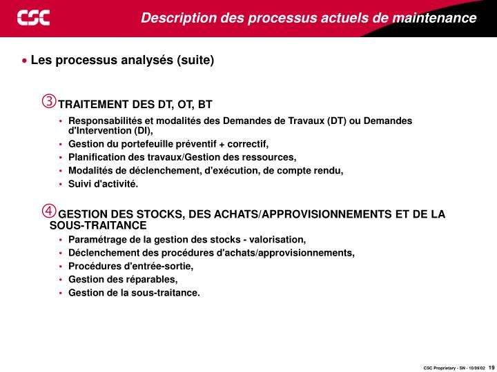 Description des processus actuels de maintenance