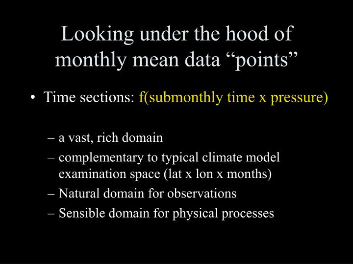 """Looking under the hood of monthly mean data """"points"""""""