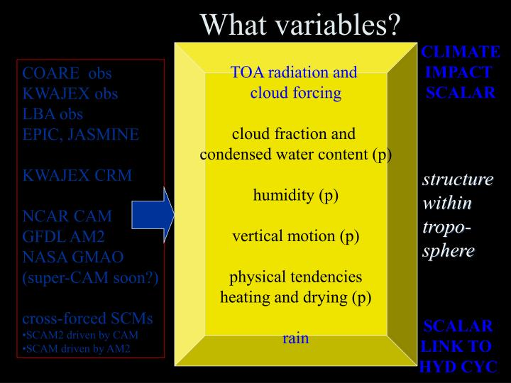 What variables?