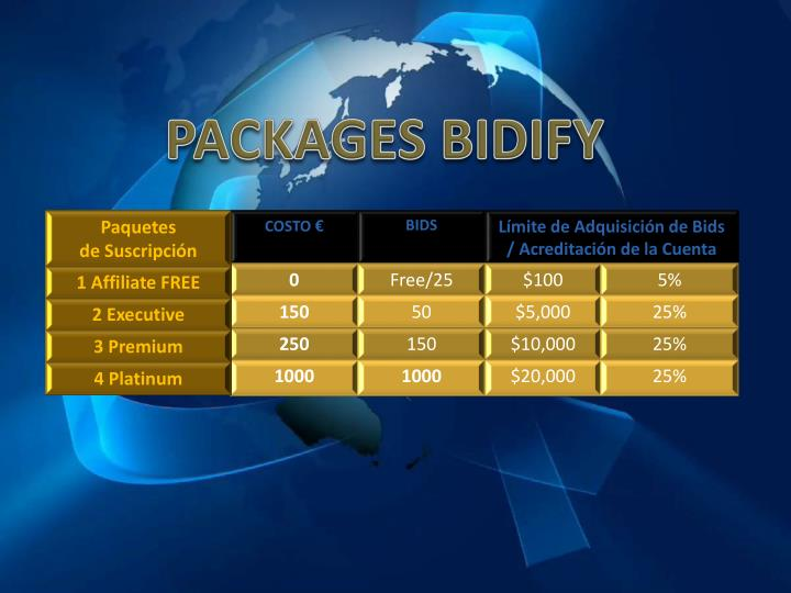 PACKAGES BIDIFY