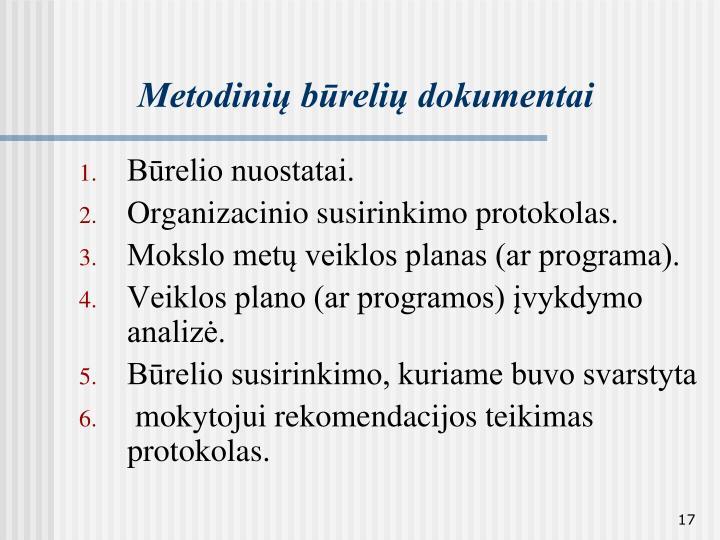 Metodinių būrelių dokumentai