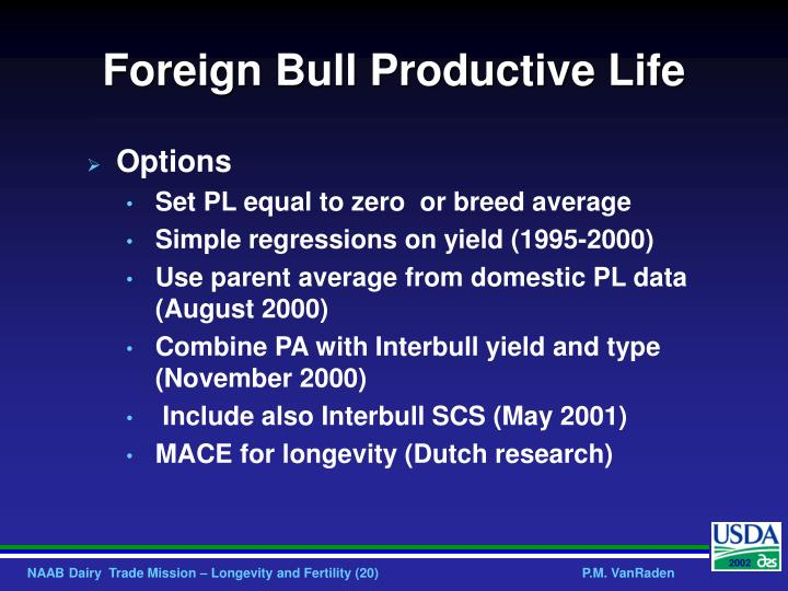 Foreign Bull Productive Life