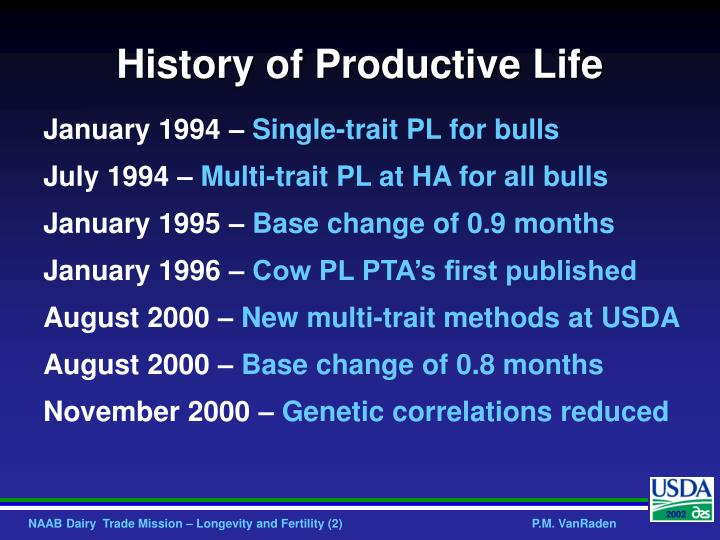 History of productive life