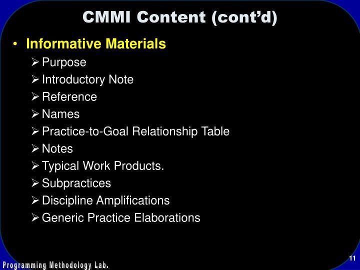 CMMI Content (cont'd)