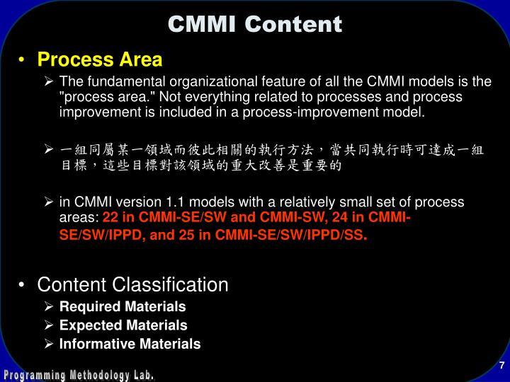 CMMI Content