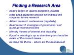 finding a research area