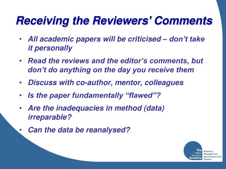 Receiving the Reviewers' Comments