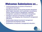 welcomes submissions on