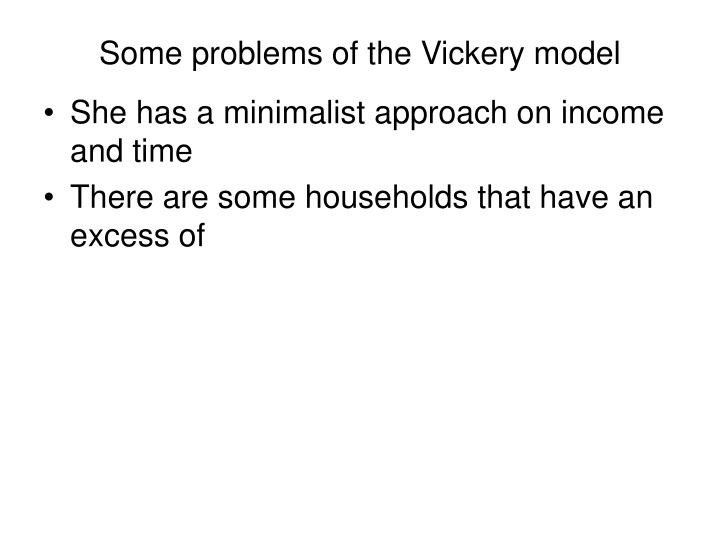 Some problems of the Vickery model