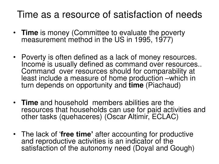 Time as a resource of satisfaction of needs