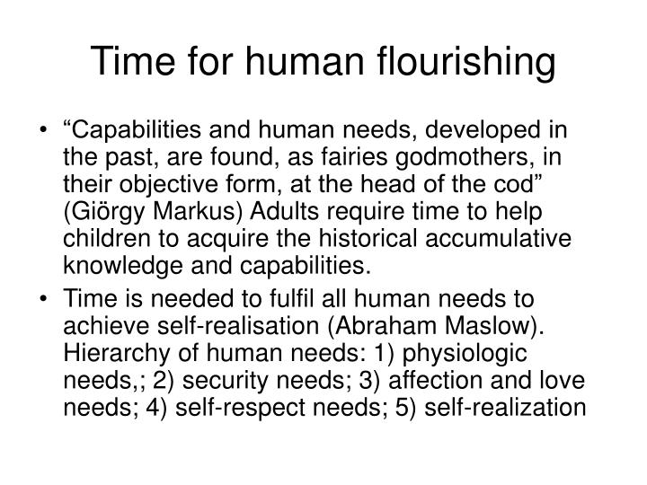 Time for human flourishing