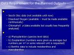 data requirement for the planned outputs