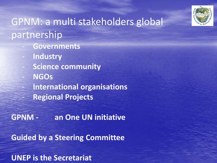 GPNM: a multi stakeholders global partnership