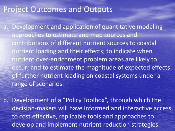 Project Outcomes and Outputs