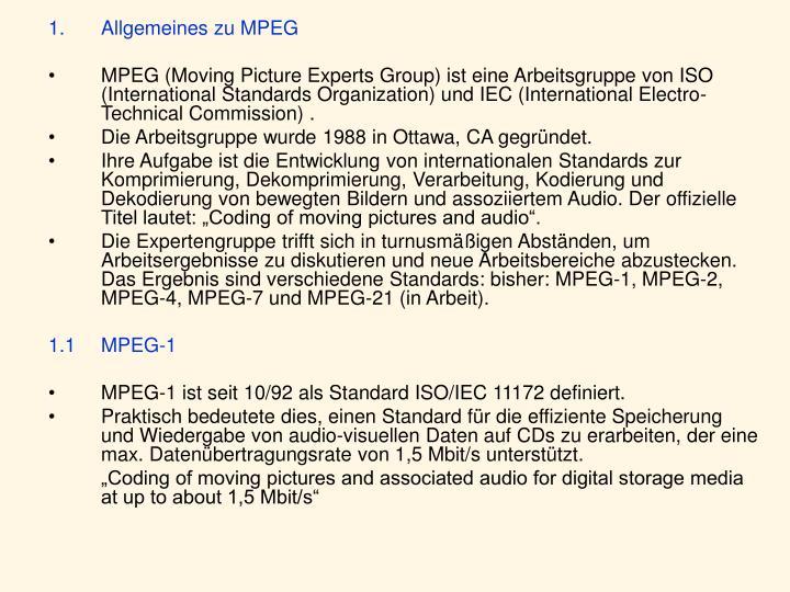 Allgemeines zu MPEG
