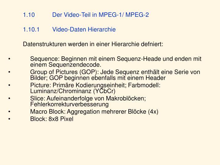 1.10Der Video-Teil in MPEG-1/ MPEG-2