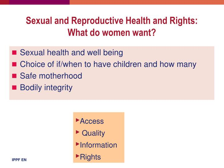 Sexual and Reproductive Health and Rights: