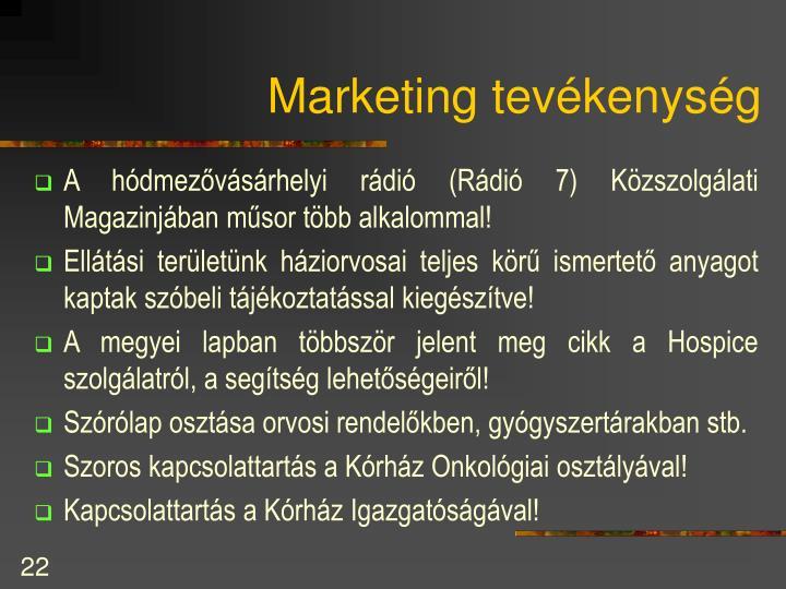 Marketing tevékenység