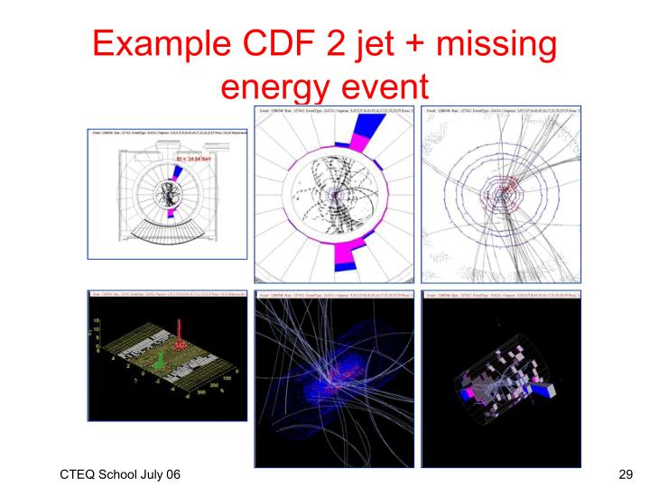 Example CDF 2 jet + missing energy event