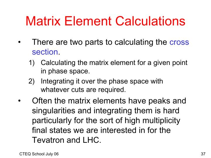 Matrix Element Calculations