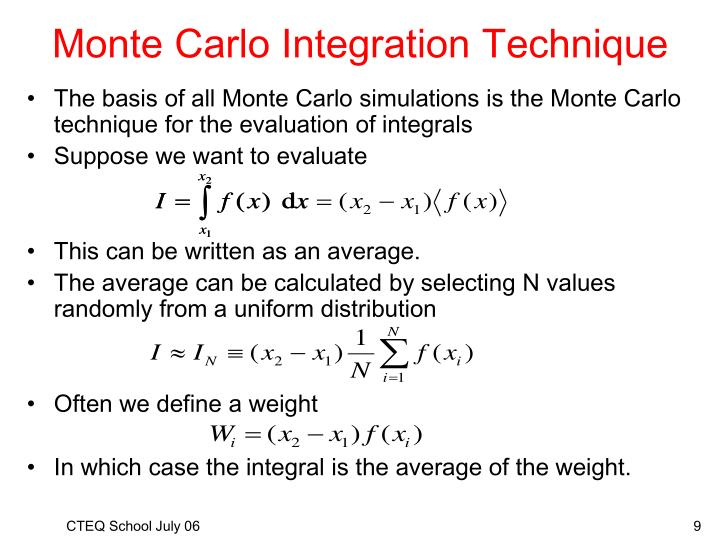 Monte Carlo Integration Technique