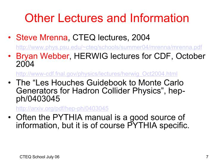 Other Lectures and Information