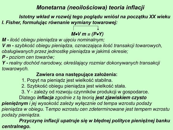 Monetarna (neoilościowa) teoria inflacji