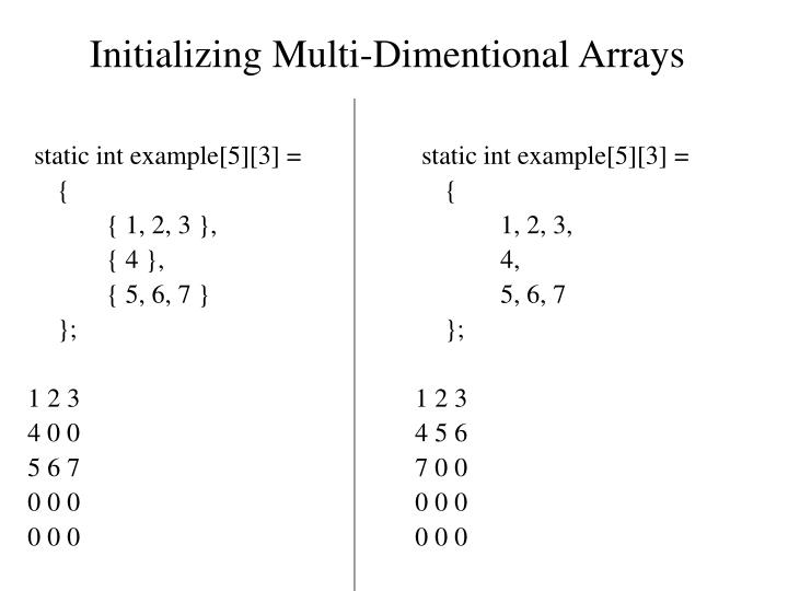 Initializing Multi-Dimentional Arrays