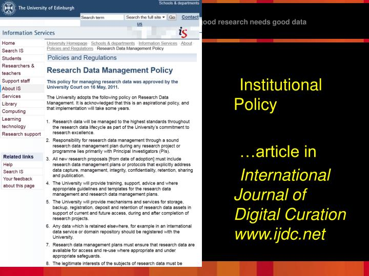 Institutional Policy