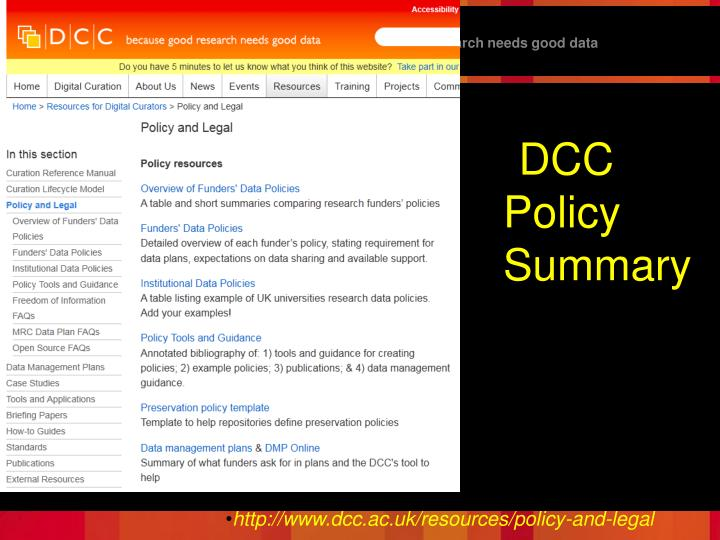 DCC Policy Summary