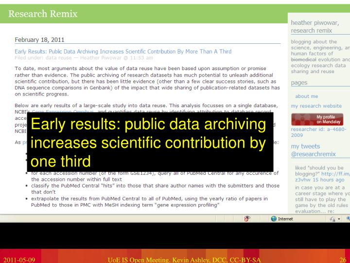 Early results: public data archiving increases scientific contribution by one third