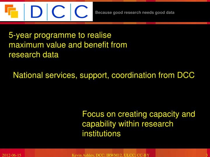 5-year programme to realise maximum value and benefit from research data