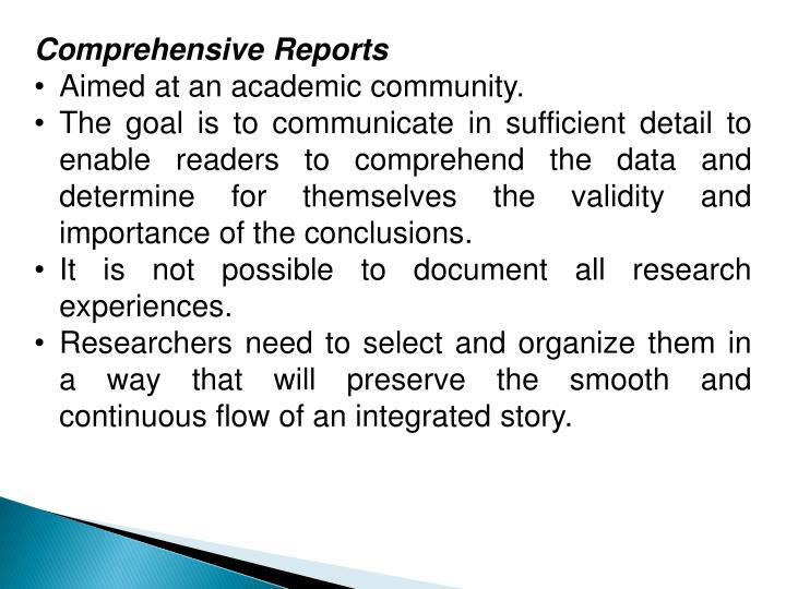 Comprehensive Reports