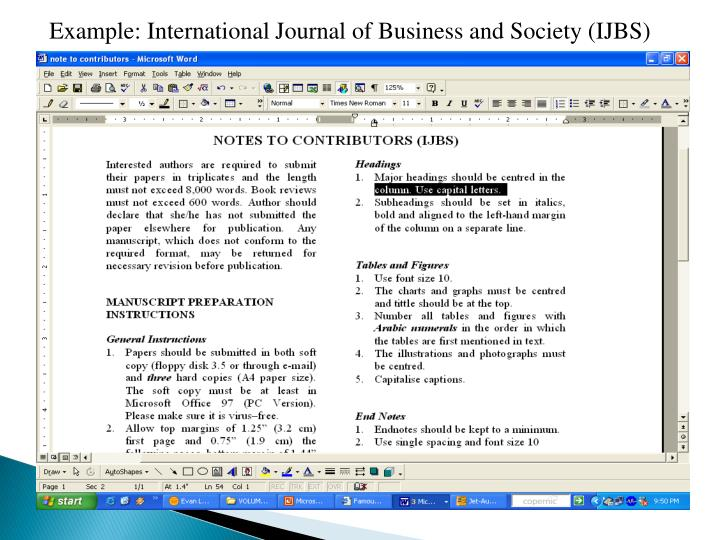 Example: International Journal of Business and Society (IJBS)