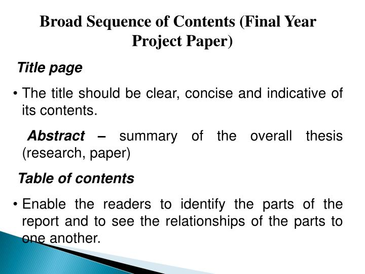 Broad Sequence of Contents (Final Year Project Paper)