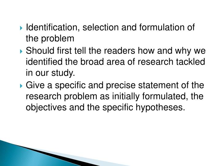 Identification, selection and formulation of the problem