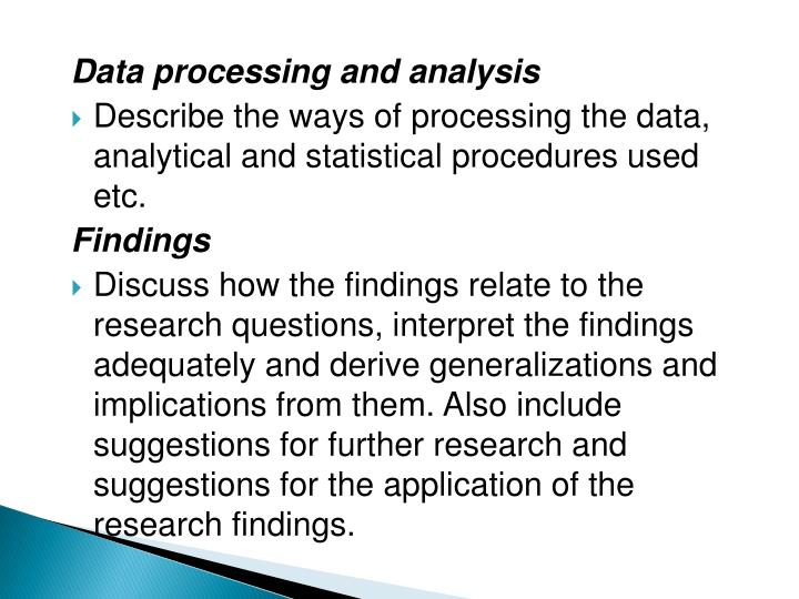 Data processing and analysis