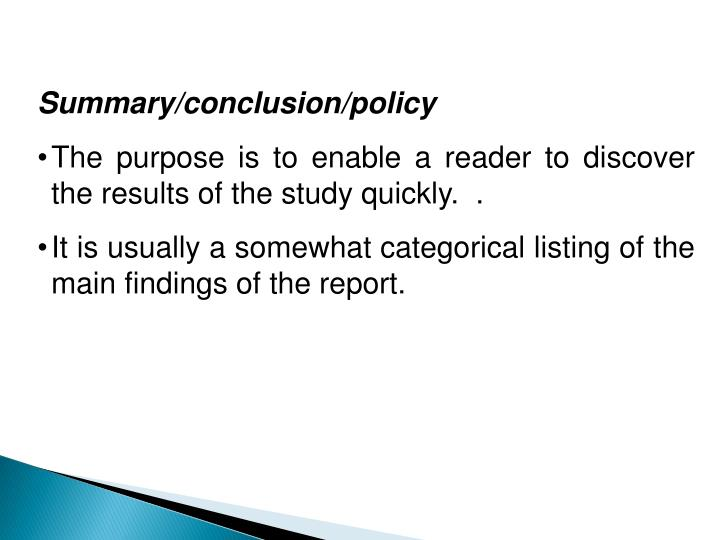 Summary/conclusion/policy