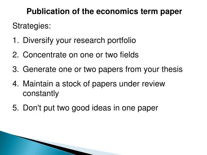 Publication of the economics term paper