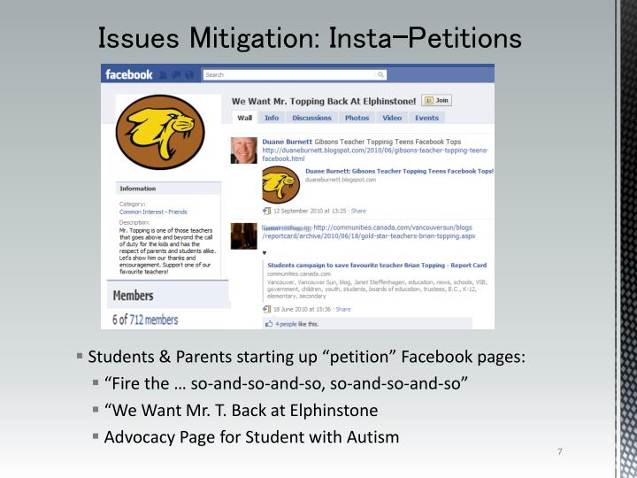 "Students & Parents starting up ""petition"" Facebook pages:"