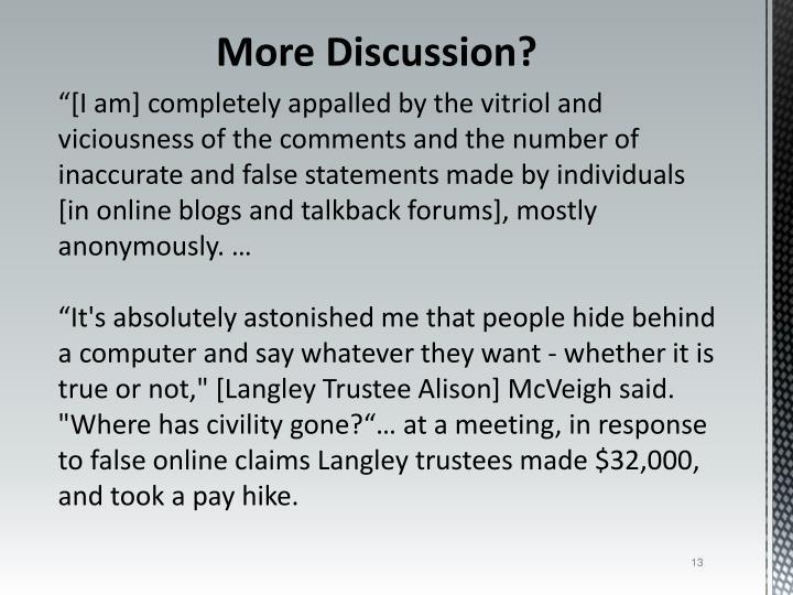 More Discussion?
