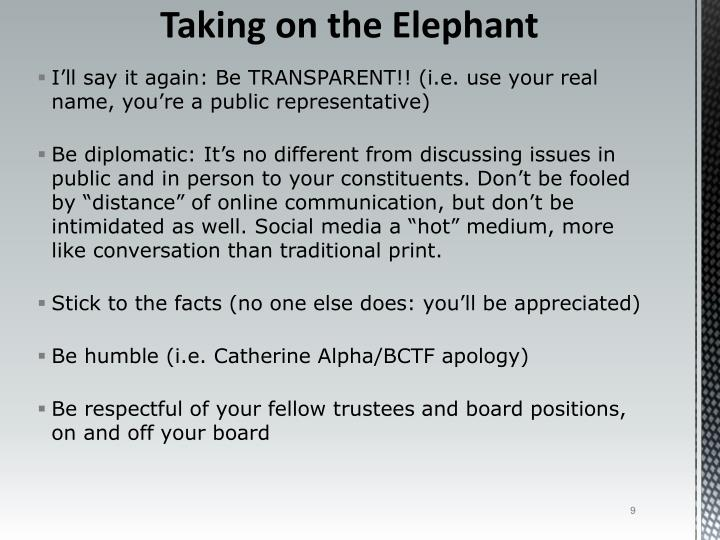 I'll say it again: Be TRANSPARENT!! (i.e. use your real name, you're a public representative)