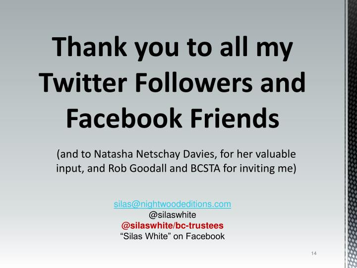 Thank you to all my Twitter Followers and Facebook Friends