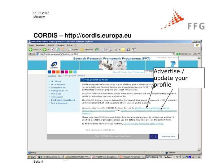 CORDIS – http://cordis.europa.eu