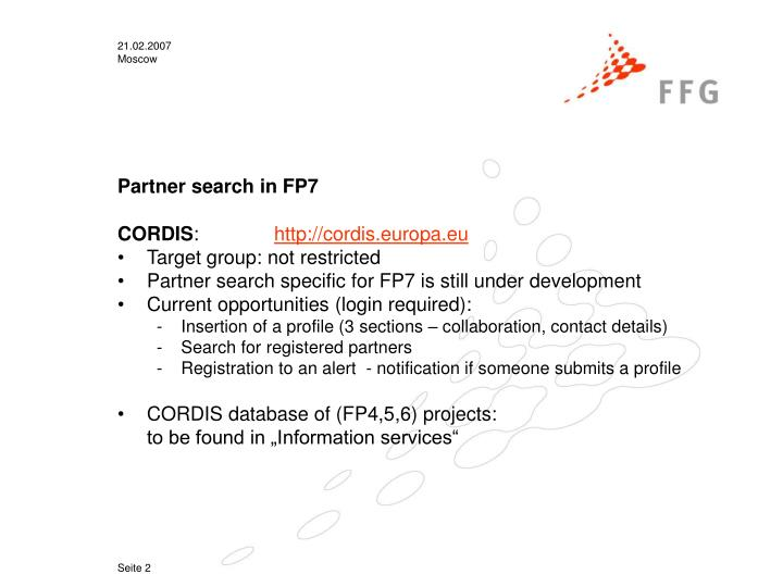 Partner search in FP7