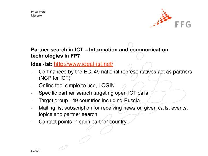 Partner search in ICT – Information and communication technologies in FP7