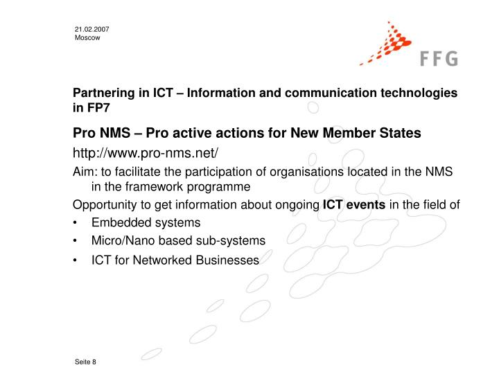 Partnering in ICT – Information and communication technologies in FP7